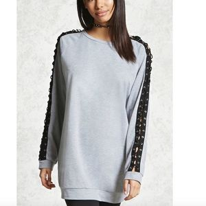 Forever 21 Lace Up Raglan Pullover Sweater Dress
